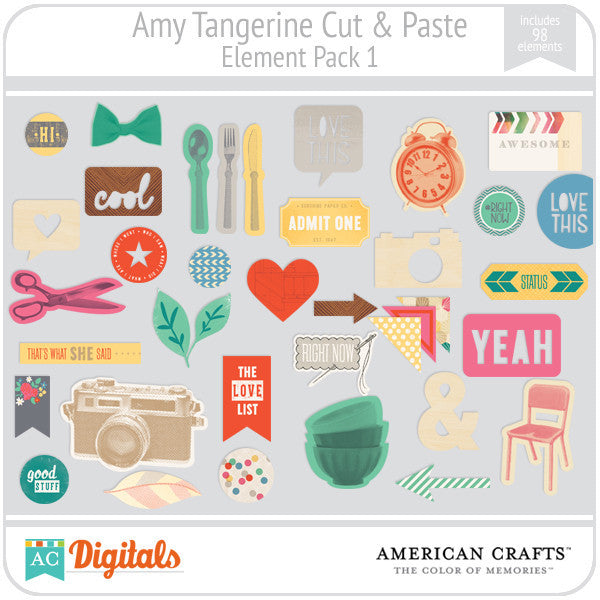 Amy Tangerine Cut & Paste Element Pack 1