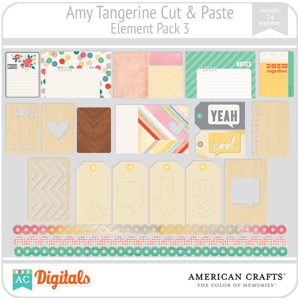 Amy Tangerine Cut & Paste Element Pack 3