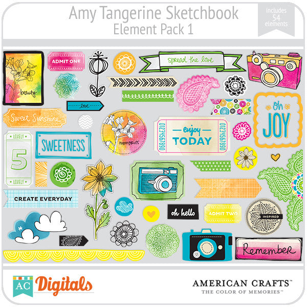 Amy Tangerine Sketchbook Element Pack #1