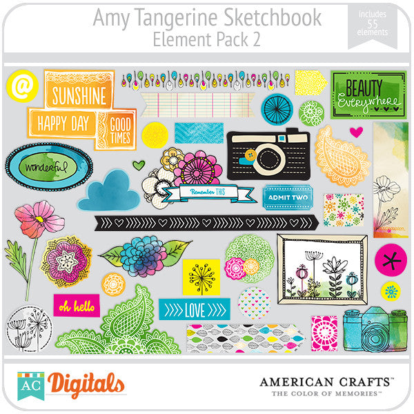 Amy Tangerine Sketchbook Element Pack #2