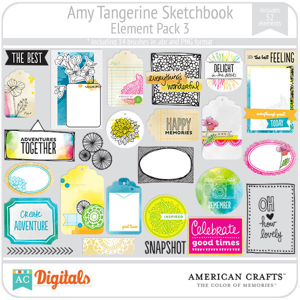 Amy Tangerine Sketchbook Element Pack #3