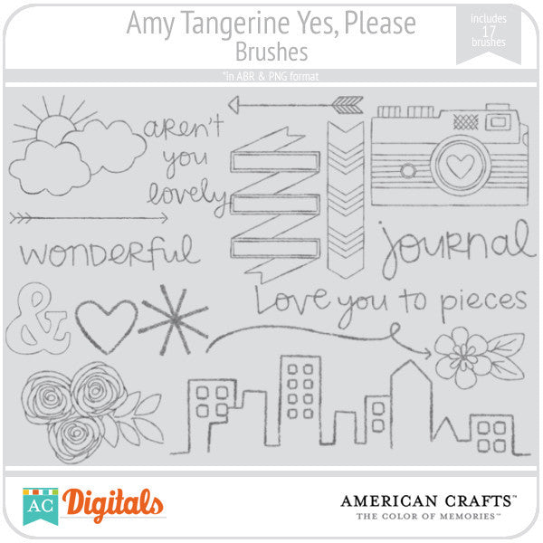 Amy Tangerine Yes, Please Brushes