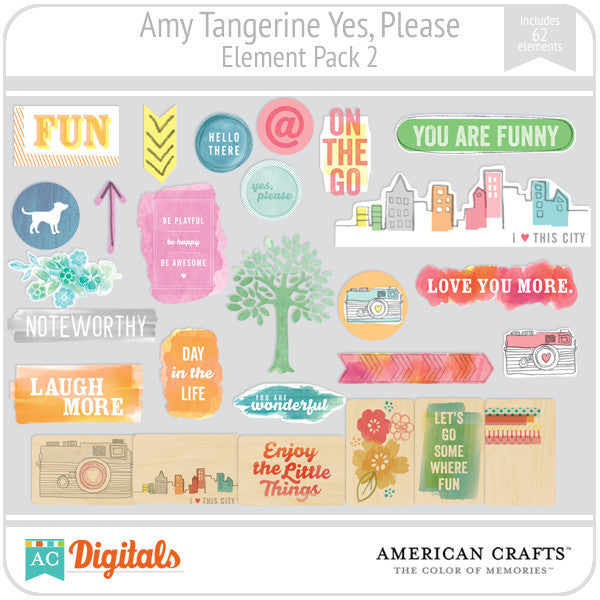 Amy Tangerine Yes, Please Element Pack #2