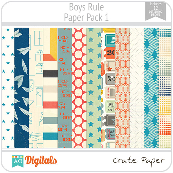 Boys Rule Paper Pack 1