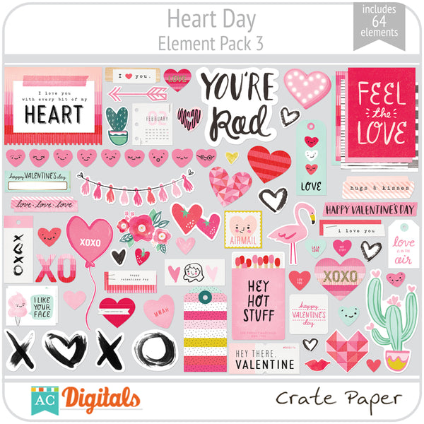 Heart Day Element Pack 3