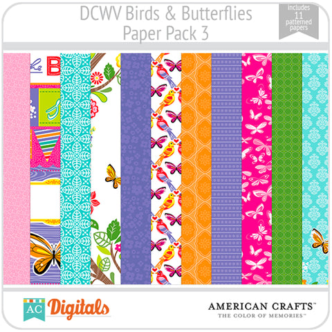 Birds & Butterflies Paper Pack 3