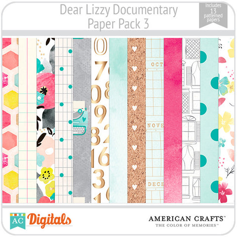 Dear Lizzy Documentary Paper Pack #3