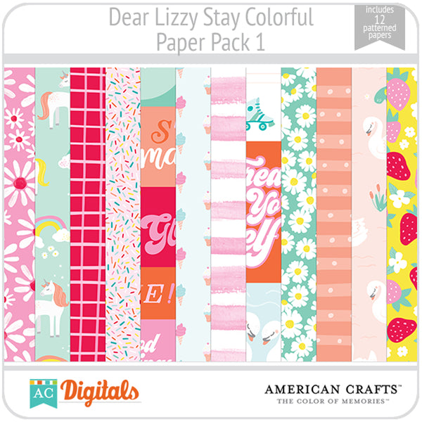 Dear Lizzy Stay Colorful Paper Pack 1