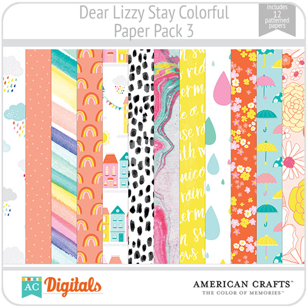 Dear Lizzy Stay Colorful Paper Pack 3