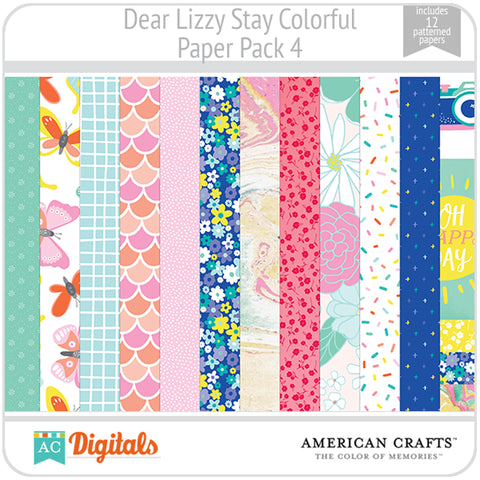Dear Lizzy Stay Colorful Paper Pack 4