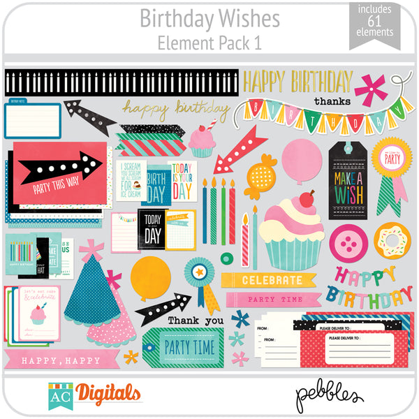 Birthday Wishes Element Pack 1