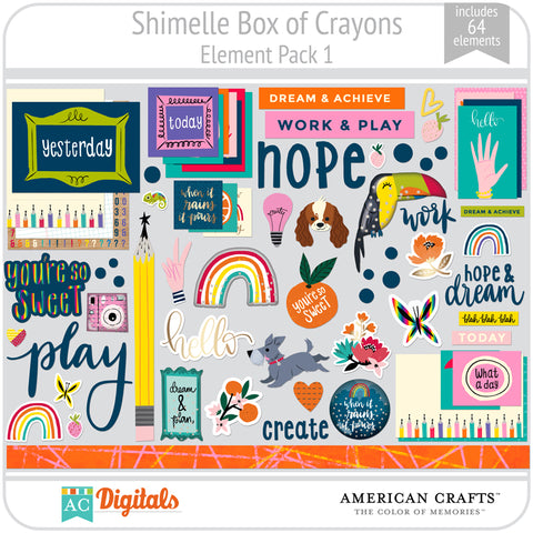 Shimelle Box of Crayons Element Pack 1
