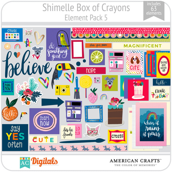 Shimelle Box of Crayons Element Pack 5