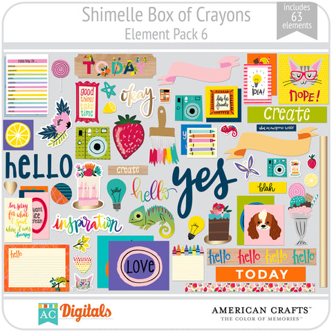 Shimelle Box of Crayons Element Pack 6