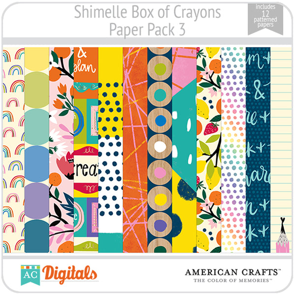 Shimelle Box of Crayons Paper Pack 3