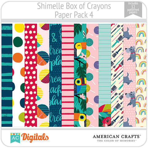 Shimelle Box of Crayons Paper Pack 4
