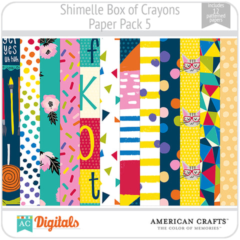 Shimelle Box of Crayons Paper Pack 5