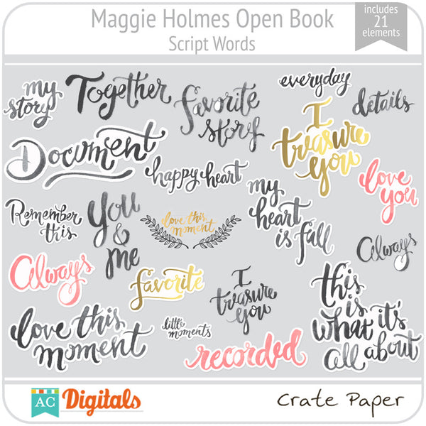 Maggie Holmes Open Book Script Words