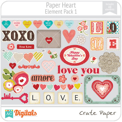 Paper Heart Element Pack #1