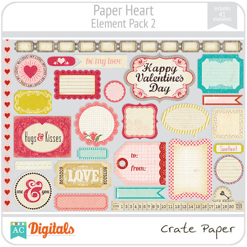 Paper Heart Element Pack #2