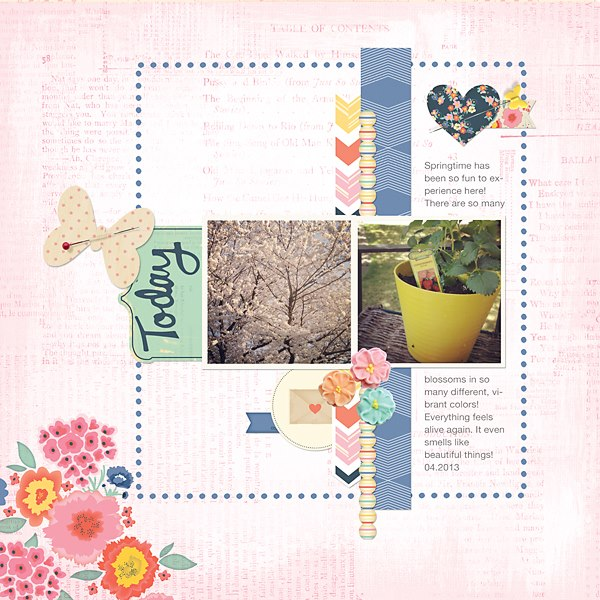 Layout by Creative Team Member Emily Cheney. (Pins & Flowers by Kitschy Digitals)
