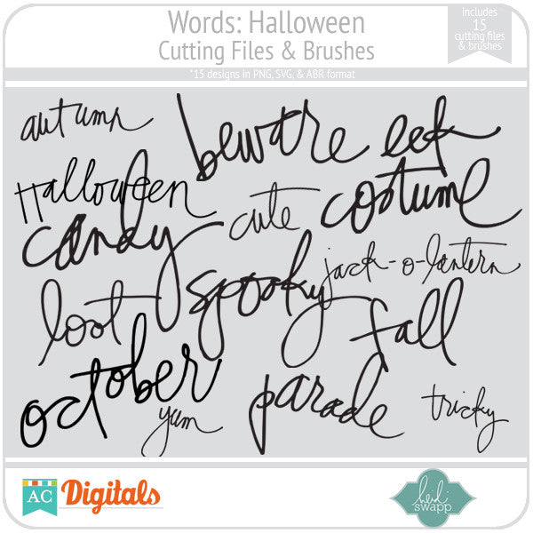Words: Halloween Cutting Files & Brushes