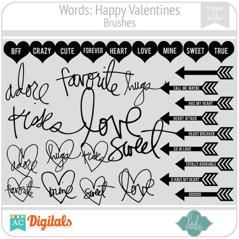 Words: Happy Valentines Brushes
