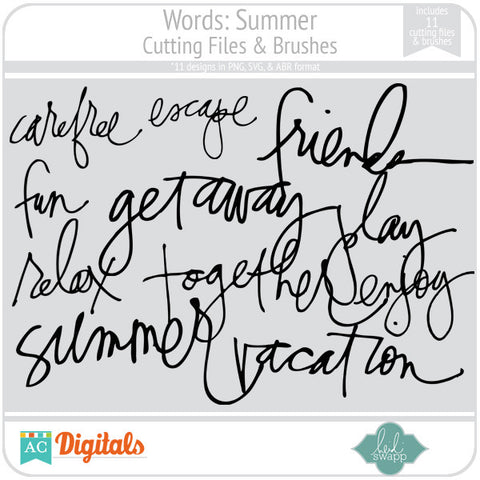 Words: Summer Cutting Files & Brushes