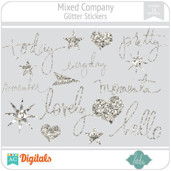 Mixed Company Glitter Stickers