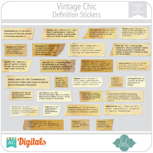 Vintage Chic Definition Stickers