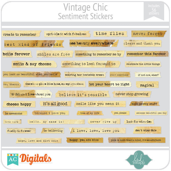 Vintage Chic Sentiment Stickers