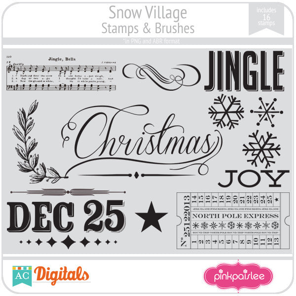 Snow Village Stamps & Brushes