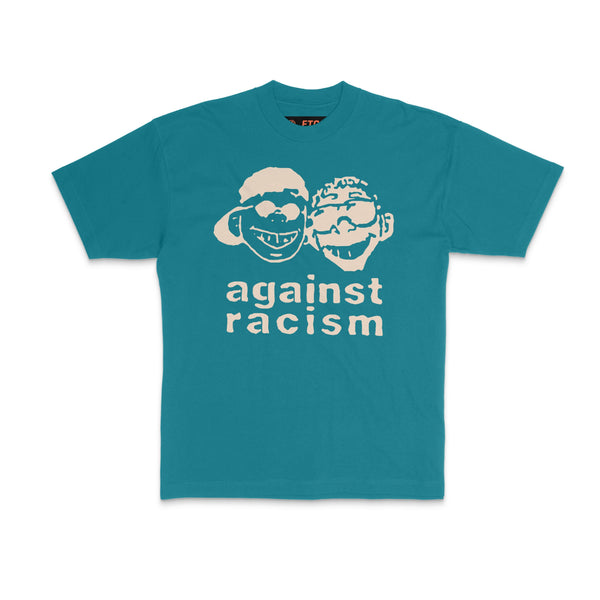 against racism, grey t shirt, vintage, made in america, streetwear, teal, supreme, stussy
