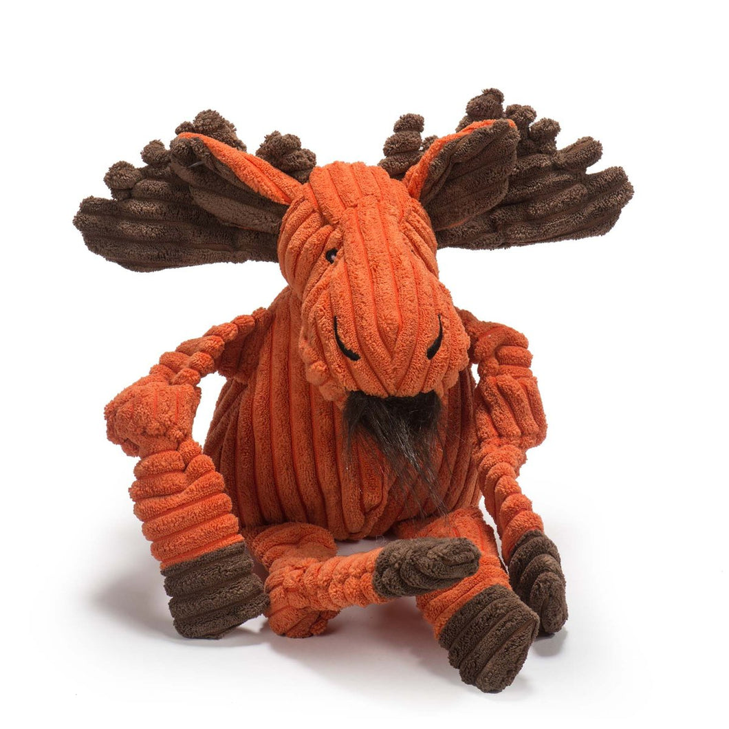 HuggleHounds Plush Durable Squeaky Knottie Moose, Small