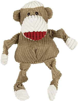 HuggleHounds Plush Corduroy Durable Sock Monkey Knottie, Small