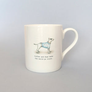 "Beautiful Bone China Bull Terrier Mug ""Coffee and Dogs"""