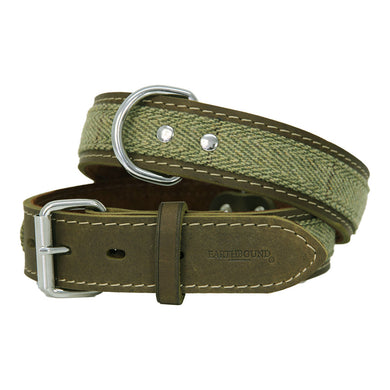 Earthbound Tweed Leather Collar - Green