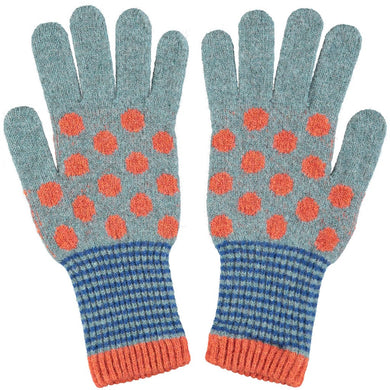 Women's Sea Green & Rust Polka Dot Lambswool Gloves