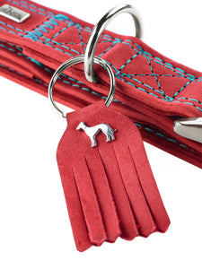 Hunter 'Lucca' Leather Leash - Red & Turquoise
