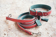 Load image into Gallery viewer, Hunter 'Lucca' Petit Leather Collar - Red & Turquoise