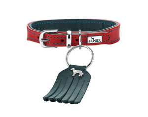 Hunter 'Lucca' Petit Leather Collar - Red & Turquoise