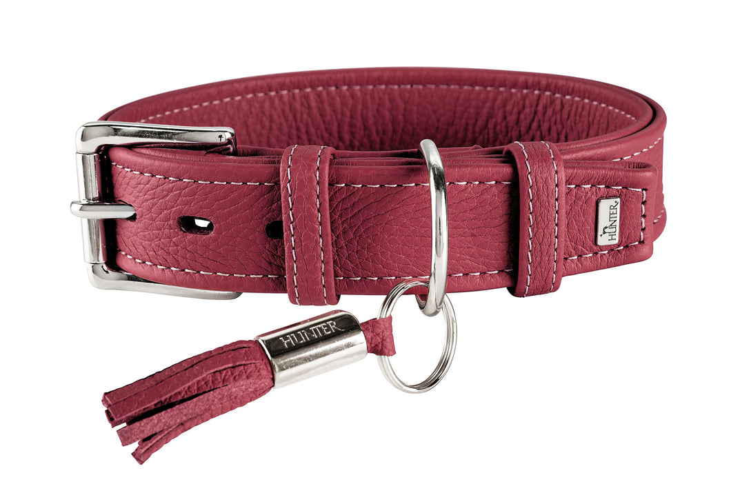Hunter 'Cannes' Leather Collar - Burgundy