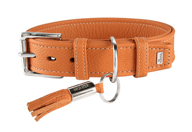 Hunter 'Cannes' Leather Collar - Orange