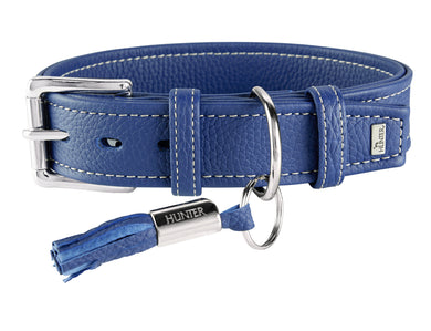 Hunter 'Cannes' Leather Collar - Blue
