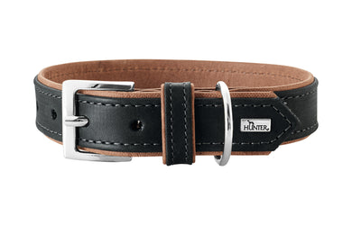 Hunter 'Porto' Leather Collar - Black/Cognac