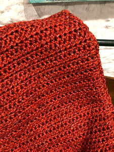 Handmade Crochet Blanket - Rust Red