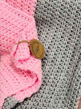 Load image into Gallery viewer, Handmade Crochet Blanket - Pink & Grey
