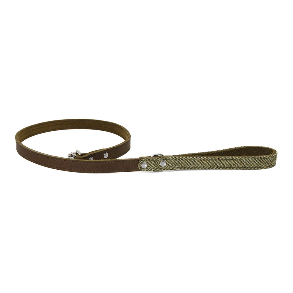 Earthbound Ox Tweed Leather Leash - Green