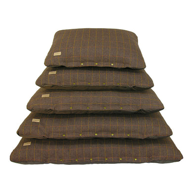 Tweed Cushion Bed - Check Brown