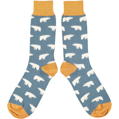 Men's Smoke & Yellow Polar Bear Cotton Ankle Socks
